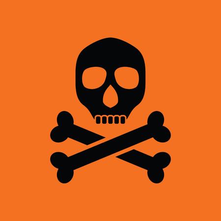 sign orange: Poison sign icon. Orange background with black. Vector illustration.