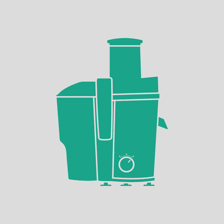 juice extractor: Juicer machine icon. Gray background with green. Vector illustration.