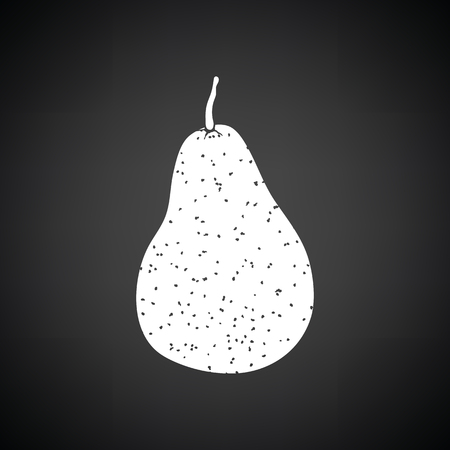 Pear icon. Black background with white. Vector illustration.
