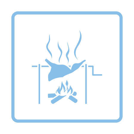 embers: Roasting meat on fire icon. Blue frame design. Vector illustration.
