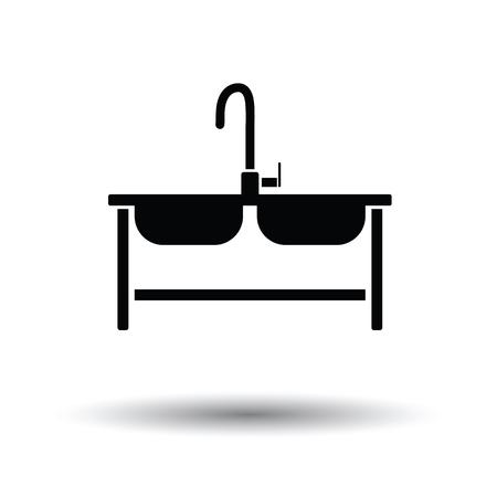 Zwei Waschbecken Symbol. Weißer Hintergrund mit Schatten Design. Vektor-Illustration.
