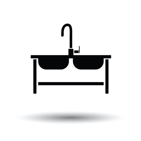 sink drain: Double sink icon. White background with shadow design. Vector illustration.