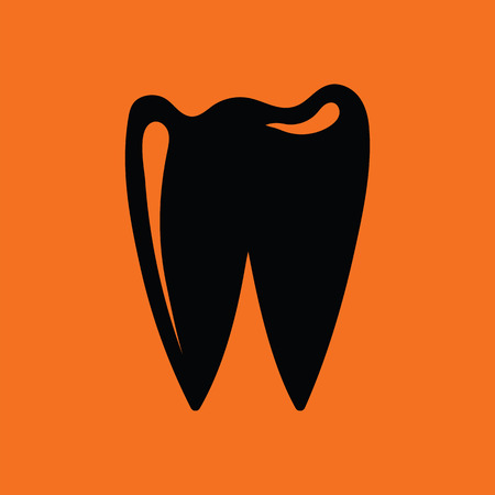 mouth screen: Tooth icon. Orange background with black. Vector illustration.