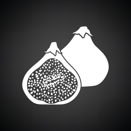 fig: Fig fruit icon. Black background with white. Vector illustration.