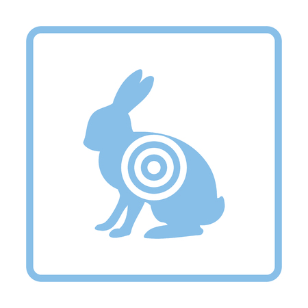 hunted: Hare silhouette with target  icon. Blue frame design. Vector illustration.