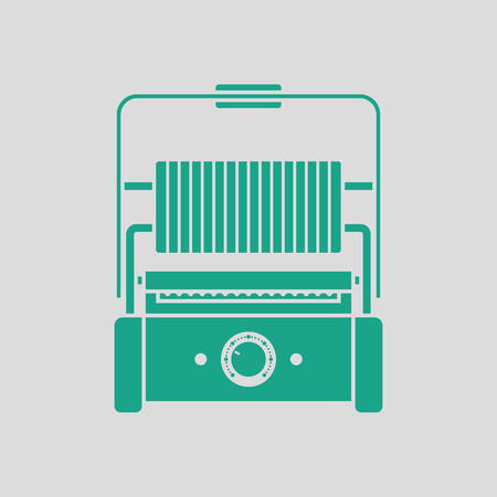 Kitchen electric grill icon. Gray background with green. Vector illustration.