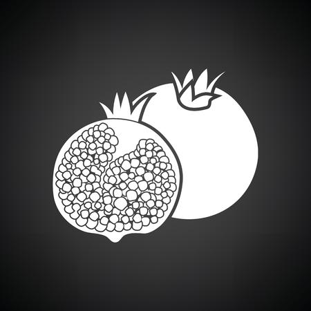 fruit and vegetable: Pomegranate icon. Black background with white. Vector illustration. Illustration