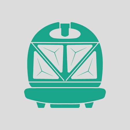 open sandwich: Kitchen sandwich maker icon. Gray background with green. Vector illustration.