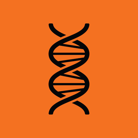 DNA icon. Orange background with black. Vector illustration.