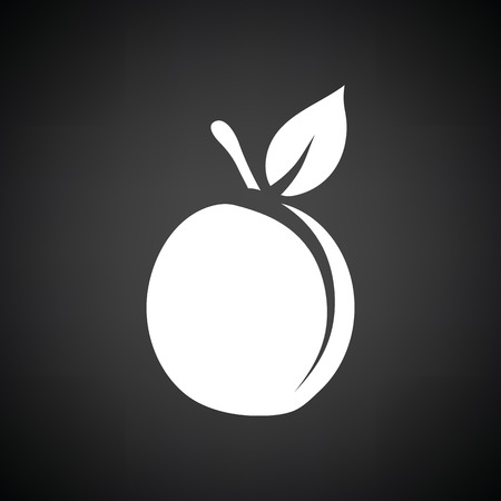 drupe: Peach icon. Black background with white. Vector illustration.