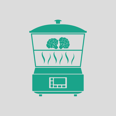 steam cooker: Kitchen steam cooker icon. Gray background with green. Vector illustration.
