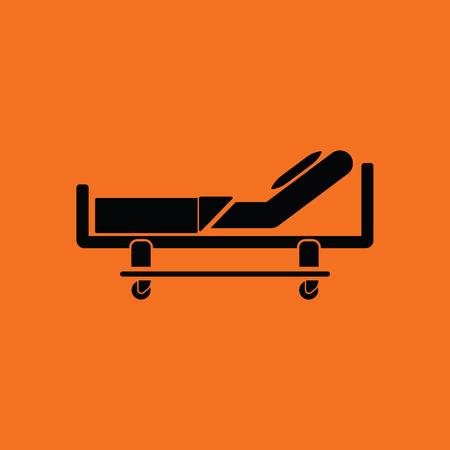 Icona del letto d'ospedale. Sfondo arancione con il nero. Illustrazione vettoriale
