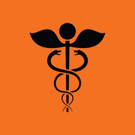 intertwined: Medicine sign icon. Orange background with black. Vector illustration. Illustration
