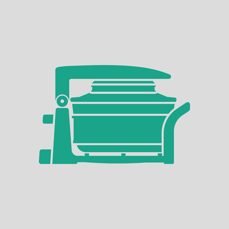 convection: Electric convection oven icon. Gray background with green. Vector illustration.