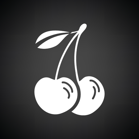 drupe: Cherry icon. Black background with white. Vector illustration. Illustration