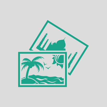 photograph: Two travel photograph icon. Gray background with green. Vector illustration. Illustration