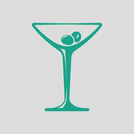 vermouth: Cocktail glass icon. Gray background with green. Vector illustration.