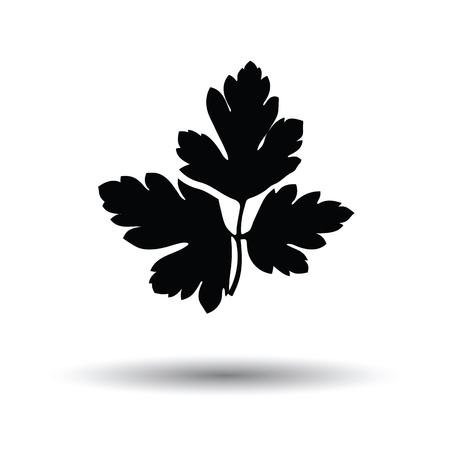 perejil: icono de perejil. Fondo blanco con el diseño de la sombra. Ilustración del vector. Vectores