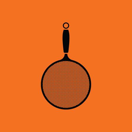 drainer: Kitchen colander icon. Orange background with black. Vector illustration.
