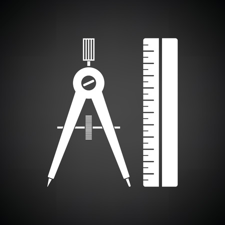 Compasses and scale icon. Black background with white. Vector illustration.