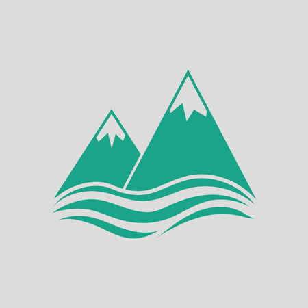 peaks: Snow peaks cliff on sea icon. Gray background with green. Vector illustration.