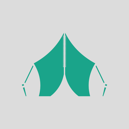 touristic: Touristic tent icon. Gray background with green. Vector illustration. Illustration
