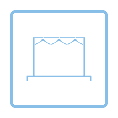 rail: Clothing rail with hangers icon. Blue frame design. Vector illustration.