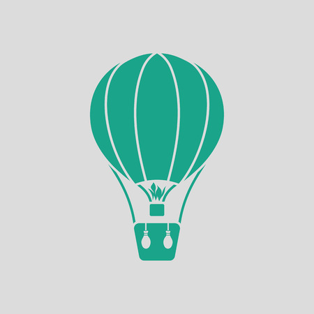 inflate: Hot air balloon icon. Gray background with green. Vector illustration.