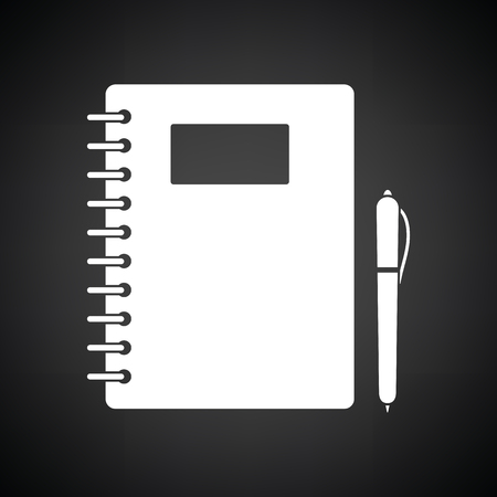 exercise book: Exercise book with pen icon. Black background with white. Vector illustration.