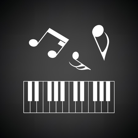 octaves: Piano keyboard icon. Black background with white. Vector illustration.