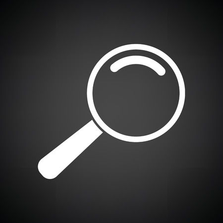 discovery: Loupe icon. Black background with white. Vector illustration.