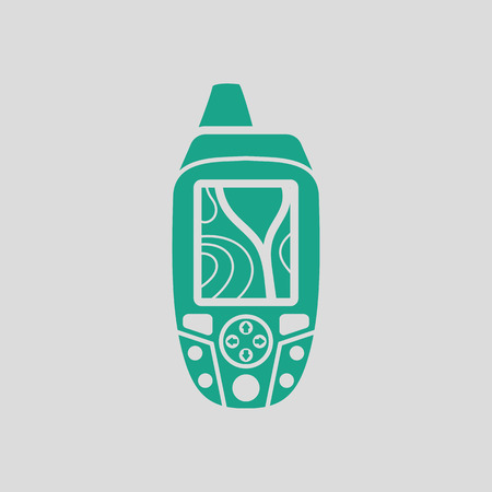gps device: Portable GPS device icon. Gray background with green. Vector illustration.