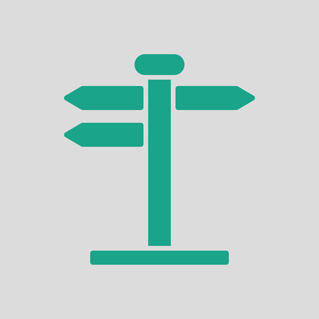 wooden post: Pointer stand icon. Gray background with green. Vector illustration. Illustration