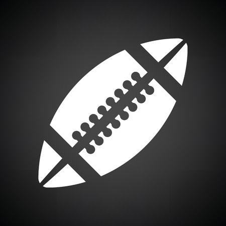 black american: American football icon. Black background with white. Vector illustration.