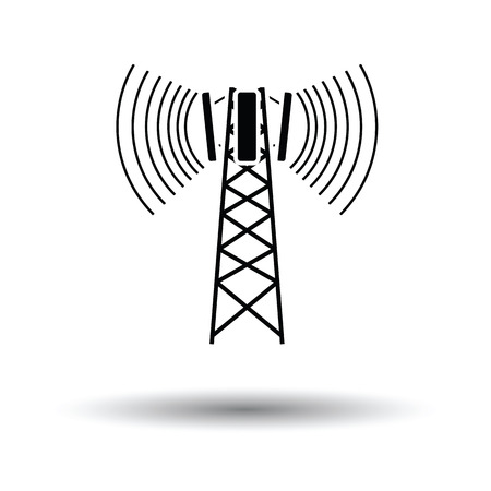 cellular: Cellular broadcasting antenna icon. White background with shadow design. Vector illustration. Illustration