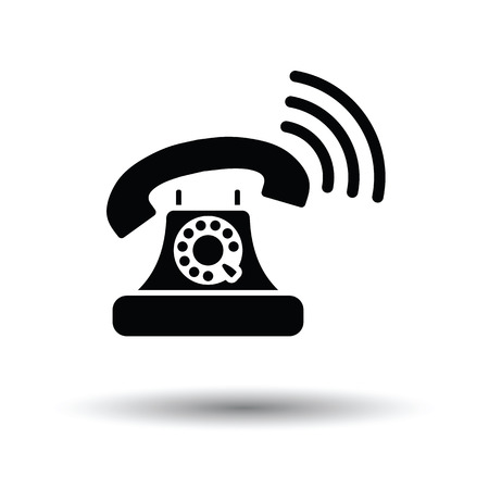 old telephone: Old telephone icon. White background with shadow design. Vector illustration.