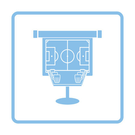 bar table: Sport bar table with mugs of beer and football translation on projection screen icon. Blue frame design. Vector illustration. Illustration
