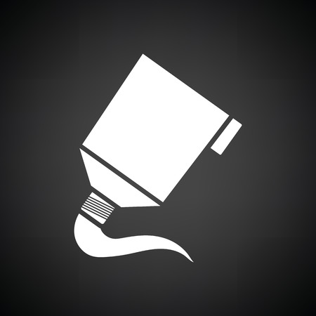 paint tube: Paint tube icon. Black background with white. Vector illustration.