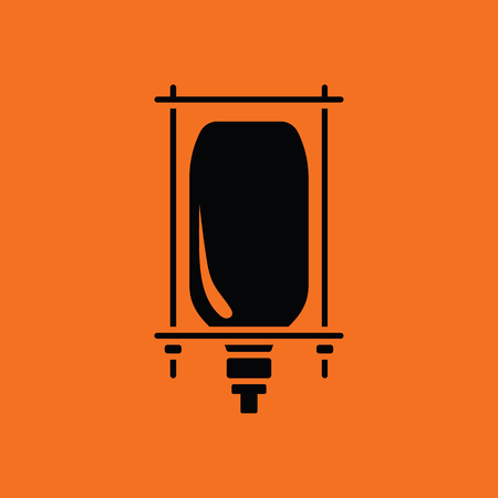 transfuse: Drop counter icon. Orange background with black. Vector illustration.
