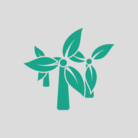 wind mill: Wind mill leaves in blades icon. Gray background with green. Vector illustration. Illustration