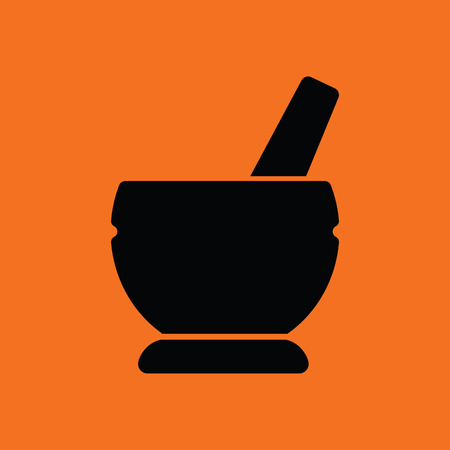 apothecary: Mortar and pestel icon. Orange background with black. Vector illustration.