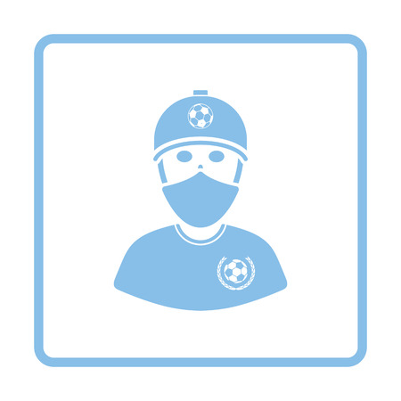 face covered: Football fan with covered  face by scarf icon. Blue frame design. Vector illustration.
