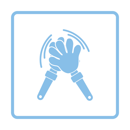 clap: Football fans clap hand toy icon. Blue frame design. Vector illustration.