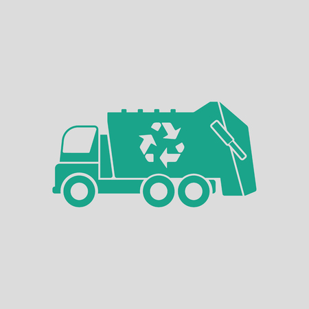utilize: Garbage car recycle icon. Gray background with green. Vector illustration.