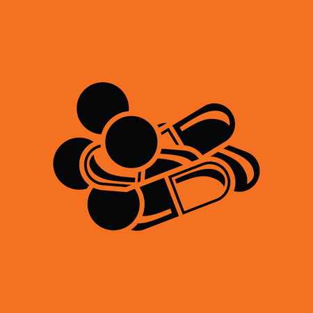 tabs: Pill and tabs icon. Orange background with black. Vector illustration.