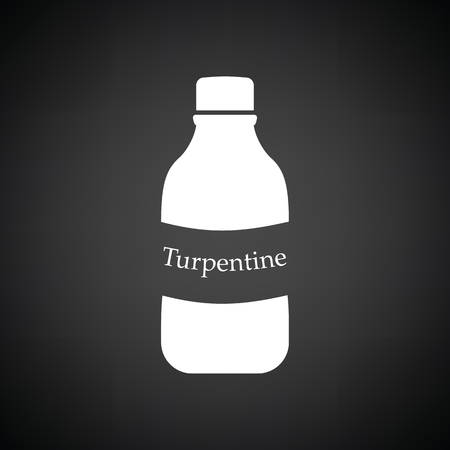 paint container: Turpentine icon. Black background with white. Vector illustration. Illustration