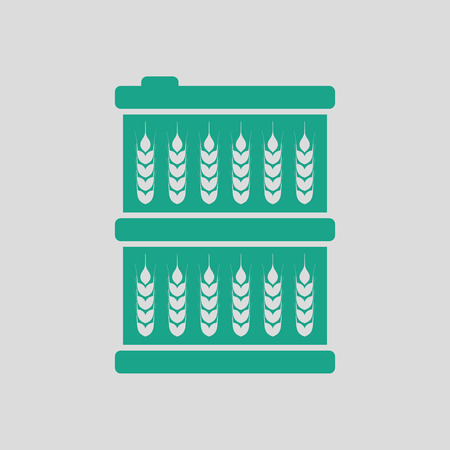 green wheat: Barrel wheat symbols icon. Gray background with green. Vector illustration.