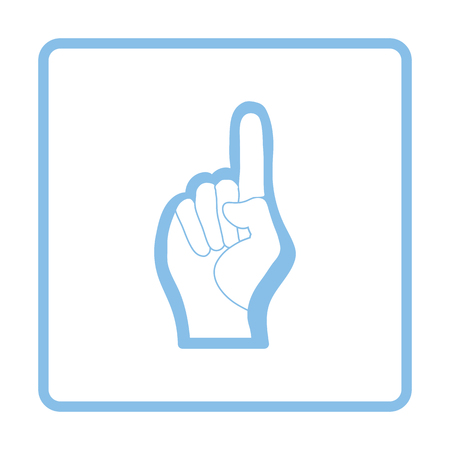 foam hand: Fan foam hand with number one gesture icon. Blue frame design. Vector illustration.