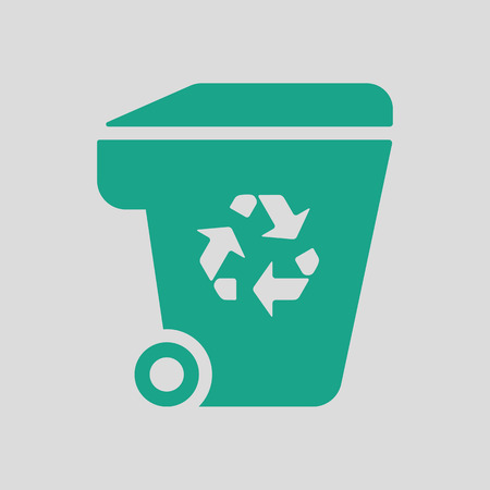 garbage container: Garbage container recycle sign icon. Gray background with green. Vector illustration.