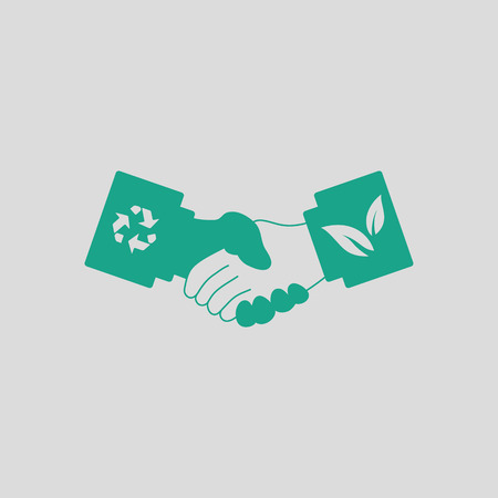 Ecological handshakes icon. Gray background with green. Vector illustration.